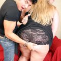 Super-sexy blonde plus-size having her large jugs cumsprayed after a firm nail
