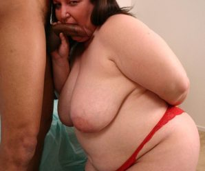 Super-naughty plus-size Chatty seduces a guy with her ginormous mammories and takes beef whistle cramming and spunk glazing in her gob