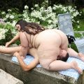 Wild brown-haired PLUS-SIZE Jitka sitting on a man's face outdoors