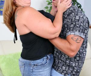 Tanned platinum-blonde fatty having her gigantic cupcakes throated and fumbled