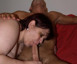 Super-naughty fatty Marta guzzling down a spunk-pump before she lets it sploog all over her chubby mug