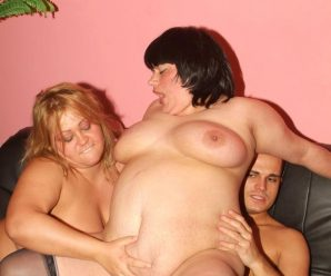 Top powerful PLUMPER Leslie and Agnes takes turns riding a man-meat and enjoy equal share of jizz decorating