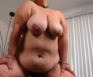Pretty matured plus-size Shianna frolicking with her thick baps while blowing off a massive spunk-pump